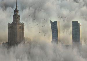 Mglista panorama Warszawy